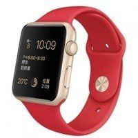 Умные часы Apple Watch Sport 38mm GOLD Aluminum with Sport Band (red)